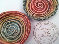 Ceramic #RingBowl #Spiral Texture #Rainbow Color Handmade by MarshaNealStudio