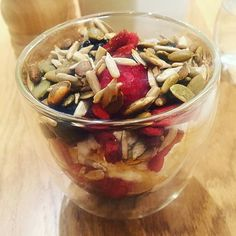 Live coconut yoghurt, fresh berries, toasted seeds and a drizzle of maple syrup.
