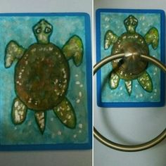 """""""Sea Turtle"""" plaque will be backing for the towel ring our Main Bathroom and compliment the Hand Painted Cabinet and Painting previously completed- Acrylic Craft Paint to be covered in Polycrylic Urethane Painted Boxes, Hand Painted, Acrylic Craft Paint, Painting Cabinets, Birdhouses, Wood Boxes, Compliments, Turtle, Towel"""