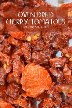 Oven dried Cherry Tomatoes - A DIY on how to make homemade Oven Dried Tomatoes It's almost impossible to believe but once cherry tomatoes are dried, the sweetness is intensified. These dried cherry tomatoes will enhance the flavors in almost any recipe Make Sun Dried Tomatoes, Canning Cherry Tomatoes, Clean Eating Snacks, Healthy Snacks, Vegetable Recipes, Vegetarian Recipes, Cherry Tomato Recipes, Sundried Tomato Recipes, Canning Food Preservation