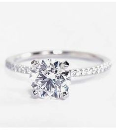 Petite Micropavé Diamond Engagement Ring by Blue Nile