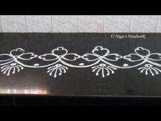 ▶ Simple Flower Border Rangoli Design-Border Rangoli Design By Nagu's Handwork - YouTube