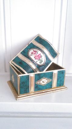 Fancy Linette Shabby Chic Collectible Confections Tin / James P. Linette Inc / Made In West Germany / Home Decor / Storage / Treasure Chest by JulesCristenVintage on Etsy
