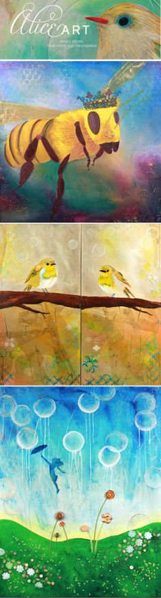 Paintings by AliceArt! See her work on Flickr. Whimsical, Beautiful, Colorful, and so much more.