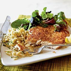 Chicken Milanese with Spring Greens Recipe