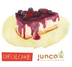 Delicious gluten-free cheesecake watercolor illustration for Junco Foods. ©Flap Jackie by Maria Wright