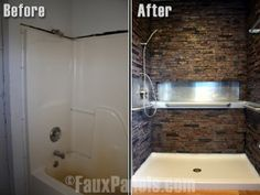 Water resistant faux stone panels create an amazing new look for your shower.