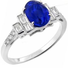 2.93ct Oval Cut Sapphire 0.40ct Baguette & Round Cut Diamond 18k White Gold Engagement Ring - See more at: http://www.newyorkestatejewelry.com/rings/2.93ct--sapphire-0.40ct-diamond-gold-engagement-ring-/23176/1/item#sthash.mztfb4vL.dpuf