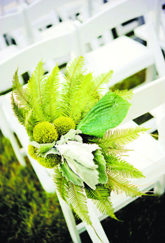"""Green Floral Wedding Ceremony Decor . The ceremony d�cor incorporated design elements and florals in white and green shades; Winston Flowers all arrangements. Emilie Chang of Pink Orchid Weddings served as the """"day of"""" coordinator."""