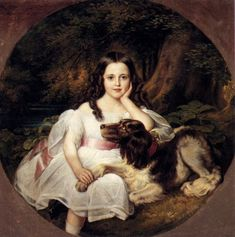A Young Girl Resting In A Landscape With Her Dog Kaulbach, Friedrich August von Painting Reproductions