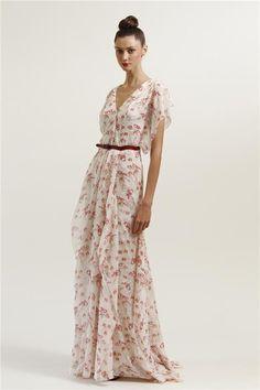 carolina herrera | Carolina Herrera colección 2012, vestido largo romántico