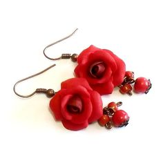 Red Rose Drop Earrings, Red Flower Drop Earrings, Jewelry Red Rose,... ($21) ❤ liked on Polyvore featuring jewelry and earrings