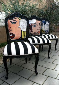 interior design, home decor, furniture, seating, chairs, wood furniture, black, white, black and white, stripes, patterns, roy lichenstein, art