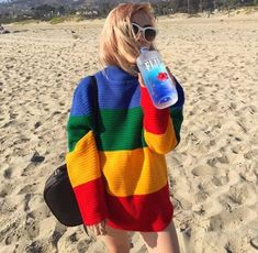 Women Pullovers Long Sleeves Rainbow Color Block Knitted Loose Oversized Sweater