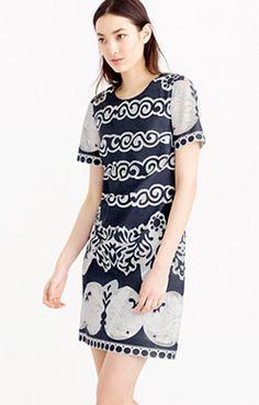 Short-sleeve shift dress in ornate lace | JCrew