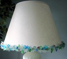 Sea Glass Lamp Shade for Nautical Decor  12in by beachgrasscottage