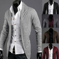 Sale 16% (15.29$) - Fashion Solid Long-sleeved Men\'sCardigan Sweaters 4 Colors