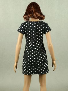 Perfect for your 1/6 doll figure customization projects, this 1/6 scale dress is made to be compatible with the popular Phicen / TBLeague and Jiaou female silicone action figure bodies! Black Leather Mini Skirt, Lace Romper, Plaid Skirts, Dress Making, Bodies, Scale, Sexy Women, Polka Dots, Short Sleeve Dresses