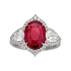Untreated Ruby and Diamond Ring 3.02 Carats