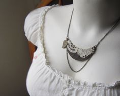 Bohemian Jewelry Bib Necklace, Lace Jewelry, Gypsy Necklace, Woodland Rustic Antique Beige, Brown, Leaf. $40.00, via Etsy.