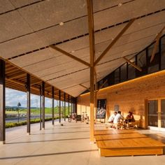 Modern Japanese Architecture, Art And Architecture, Farm Village, Timber Structure, Roof Design, Facade, Pavilion, Building, Interiors