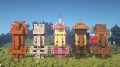 I built 5 new unique Villager Statues! [Including Tutorial] : Minecraftbuilds - Minecraft Building Ideas - I built 5 new unique Villager Statues! Minecraft Building Guide, Minecraft Plans, Minecraft Houses Blueprints, Minecraft House Designs, Minecraft Survival, Minecraft Tutorial, Cool Minecraft Houses, Minecraft Buildings, Building Ideas
