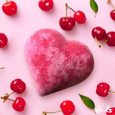 As a token of affection, this heart-shaped bath blaster is full of love and the soft perfume of fruit...watermelon, peach, red grapes or cherry   #bath #bathbomb #cherry #love