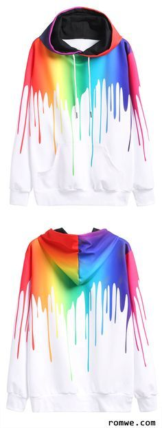 Multicolor Paint Drip Drawstring Hooded Sweatshirt