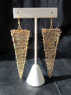 Geometric #gold tone Wire #crochet #earrings