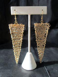 Geometric #gold tone Wire #crochet #earrings