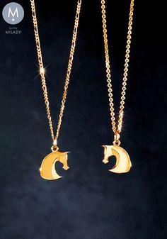 PŘÍVĚŠKY NA KRK ZLATÉ | Přívěšek hlava koně Gill - žluté zlato 585/1000 0,72 gr | MILADY šperky, jezdecké a koně