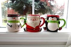 DIY Christmas mugs--shaped in snowman, Santa, and penguin #2014 #Christmas