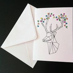 Geometric Stag Christmas Cards Pack of 4 // Hand-drawn // Chrismas Cards, How To Draw Hands, My Etsy Shop, Unique Jewelry, Hand Drawn, Illustration, Handmade Gifts, Artwork, Christmas