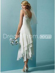 Buy Cheap Cheap Amazing Sheath/Column V-neck Tea-length Chiffon Beach Wedding Dresses CH204221 Default Category under $190.19 only in Udressprom.