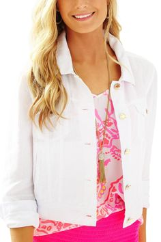 Throw on the Seaspray Jacket over your favorite dress, top or romper. Stash some lipgloss in the pockets and put on some gold wedges to match the gold details and you are good to go. This lightweight white linen jean jacket will be your go to all summer long.   Seaspray Linen Jacket by Lilly Pulitzer. Clothing - Jackets, Coats & Blazers Sandestin Golf and Beach Resort, Florida