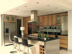 View of wooden kitchen furniture designed by expert