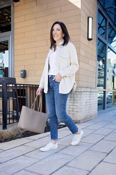 Jo-Lynne Shane styling a solid beige shacket with Veja sneakers for an elevated take on this winter/spring 2021 trend. It was the solid beige shackets that first caught my eye. Women over 40 can easily dress trendy while still being comfortable and looking age appropriate in the latest fashion trends.