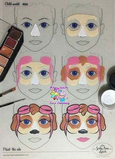 Paw Patrol Face Painting Step by Step by Jane Harding - - Schminkideen - Makeup Face Painting Tutorials, Face Painting Designs, Paint Designs, Body Painting, Face Painting Tips, Painting Shower, Paw Patrol Face Paint, Paw Patrol Masks, Dog Face Paints