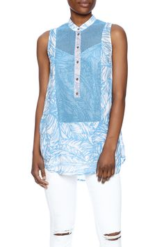 Sleeveless blue tunic with a matching cami leaf print mandarin collar button front and mesh detail.  Tunic With Cami by Plenty by Tracy Reese. Clothing - Tops - Sleeveless Clothing - Tops - Tunics Brooklyn New York City Park Slope Brooklyn New York City