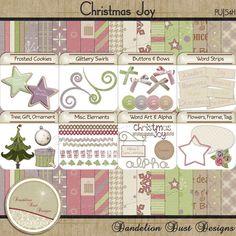 Digital Scrapbooking Christmas Joy Kit #DandelionDustDesigns #DigitalScrapbooking