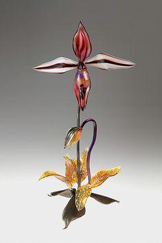 "Red Lady Slipper by Loy Allen (Art Glass Sculpture) (18"" x 8"")"