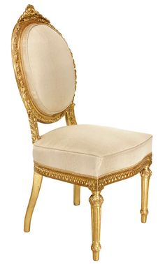 Italian Mid 19th Century Louis XVI Style Giltwood Dining Chairs | From a unique collection of antique and modern dining room chairs at https://www.1stdibs.com/furniture/seating/dining-room-chairs/