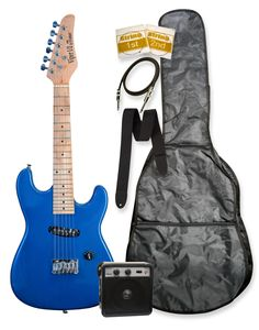 """32"""" Metallic Blue Junior Kids Mini 1/2 Size Electric Starter Guitar and Amplifier Pack with Free Gig Bag and Accessories & DirectlyCheap(TM) Translucent Blue Medium Guitar Pick. Solid Basswood Body^Maple Neck^Maple Fretboard^Single Coil Pick Up. 1 Volume^Single Saddle Bridge. Die Cast Tuners."""