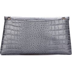 Yoins Leather-look Croc Embossed Fold Over Clutch Bag in Grey ($33) ❤ liked on Polyvore featuring bags, handbags, clutches, vegan leather purses, vegan handbags, faux crocodile handbags, gray purse and gray handbags