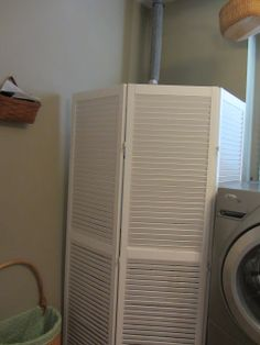 can i put a washer dryer into a corner closet? | Weak attempt to hide that water heater. Then.....