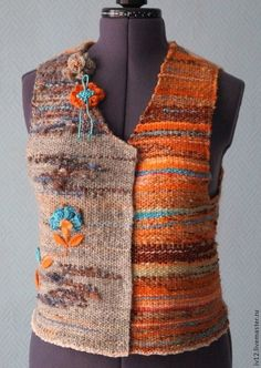 """Let's go"" - woven vest, hand made yarn"