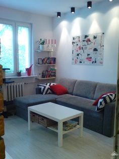 small living room--like the L couch next to the small shelves, never thought of that!