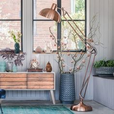 copper living room, sideboard storage