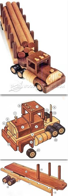 Wooden Logging Truck Plans - Wooden Toy Plans and Projects | WoodArchivist.com #woodworkingideas #WoodworkingToys