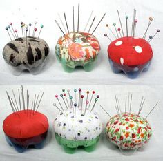 Plastic bottle pincushions